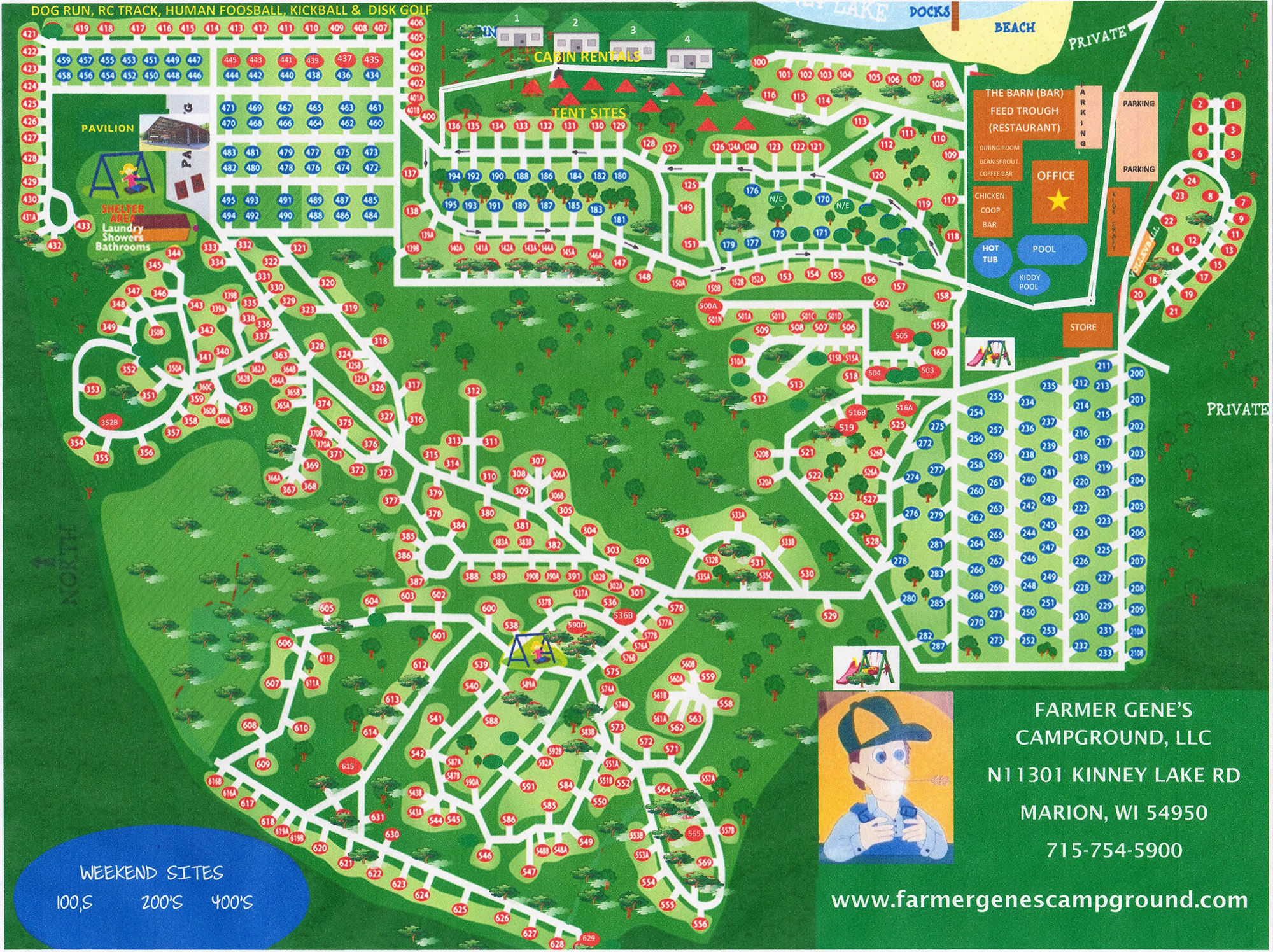 Marion Wisconsin Map.Campground Maps Farmer Gene S Campground